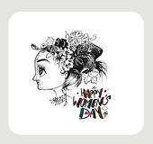 Happy Women`s Day greeting card design. Hand Drawn Sketch Vector illustration Stock Image