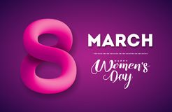 Happy Women`s Day Greeting Card Design. International 8 March Holiday Illustration with Shiny 3d Eight on Purple. Background. Vector Template royalty free illustration