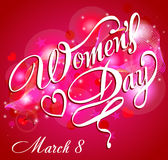 Happy Women's Day greeting card, gift card on pink background with design of a women and text 8th March. Stock Images