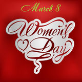 Happy Women's Day greeting card, gift card on pink background with design of a women and text 8th March. Stock Photo