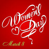 Happy Women's Day greeting card, gift card on pink background with design of a women and text 8th March. Stock Image