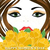 Happy Women`s Day greeting card. With beautiful floral designing elements. eps10 graphicnillustration of face of lady flower concept stock illustration