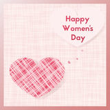 Happy Women`s Day. Greeting card with heart shape from fabric. Template postcards pastel pink colors. E-card vector illustration stock illustration