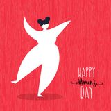 Happy Womens day card with dancing woman art. Happy Women`s Day greeting card illustration with fun curvy girl dancing for woman celebration event. EPS10 vector stock illustration