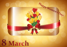 Happy Women's Day greeting card image. 8 March, International Women's Day image with flowers: crocuses and tulips stock illustration