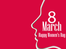 Happy Women`s Day greeting card. 8 March. Female face with the text of congratulations. Holiday card. Vector. Illustration Stock Photography