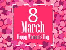 Happy Women`s Day greeting card. 8 March. Frame and text. Vector Stock Image