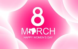 Happy Women`s Day greeting card on pink abstract background with. 8th March text. Beauty and Lady concept. Special day theme stock illustration