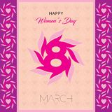 Happy women`s day greeting card. Postcard on March 8. Text with flowers royalty free illustration