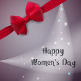 Happy Women`s Day. Greeting card. Template postcards with bow and ribbon. Royalty Free Stock Image