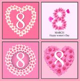 Happy Women` s Day greeting card, women and text 8th March. Happy Women` s Day  women and text 8th March Royalty Free Stock Images