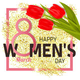 Happy Women s Day Greeting Card with tulips. Vector illustration stock illustration