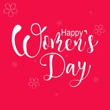 Happy Women`s day, greeting card, vector lettering illustration. On rose background Stock Images