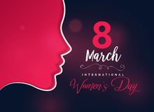Happy women`s day greeting design with female face. Illustration Royalty Free Stock Photography