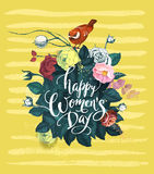 Happy Women`s Day hand lettering against background with bouquet of semi-colored rose flowers, red bird sitting on top. Of it and yellow smears. Spring holiday royalty free illustration