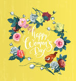 Happy Women`s Day. Hand lettering surrounded by semi-colored bunches of rose flowers, green leaves and bird against royalty free illustration