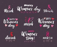 Happy Women`s Day Hand letterings set. Holiday grunge textured retro design greeting cards vector illustration Stock Photo