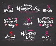 Happy Women`s Day Hand letterings set. Holiday grunge textured retro design greeting cards vector illustration on chalkboard back. Ground Stock Illustration