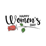 Happy Women`s Day handwritten lettering. Modern vector hand drawn calligraphy with abstract rose on white background for your greeting card design royalty free illustration