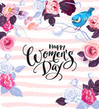 Happy Women`s Day. Handwritten phrase surrounded by half-colored flowers, leaves and cute little bird. 8 March party royalty free illustration