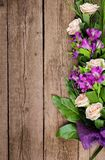 Happy Women`s Day. Delicate colorful bouquet on wooden background. International Women`s Day stock image