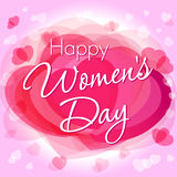 Happy Women`s Day hearts greeting card template. Happy Women`s Day lettering 8 March on pink hearts background Royalty Free Stock Photography