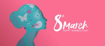Happy women`s day paper cut spring girl banner. Happy Women`s Day holiday illustration. Paper cut girl head silhouette cutout with hand drawn spring and flower royalty free illustration