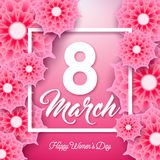 Happy Women`s Day Illustration with Abstract Flower and 8 March Typography Letter on Pink Background. Vector Spring. Flower Design Template for Greeting Card royalty free illustration