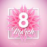Happy Women`s Day Illustration with Abstract Flower and 8 March Typography Letter on Pink Background. Vector Spring. Flower Design Template for Greeting Card vector illustration