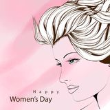 Happy women`s day. Female face. Happy women`s day. Illustration with a cute female face on a pink background Stock Photos