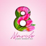 Happy Women`s Day Illustration with Tulip Bouquet and 8 March Typography Letter on Pink Background. Vector Spring Flower. Design Template for Greeting Card stock illustration