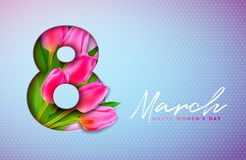Happy Women`s Day Illustration with Tulip Bouquet and 8 March Typography Letter on Pink Background. Vector Spring Flower. Design Template for Greeting Card vector illustration