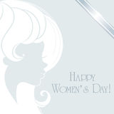 Happy Women's Day with lady face. Vector greeting card royalty free illustration