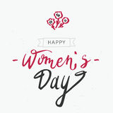 Happy Women`s Day lettering typography poster. Hand lettering art Happy women`s day with flowers on the white background. International women`s day invitation Stock Illustration