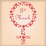 Happy women's day. A light yellow background with a lot of flowers composing a women's sign stock illustration