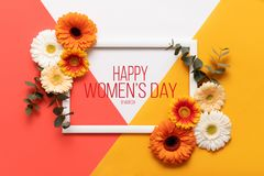 Happy Women`s day Living Coral Pantone Color Background. Coral flat lay greeting card template with beautiful flowers. Happy Women`s day Living Coral Pantone royalty free stock photos