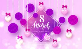 Happy Women`s day 8 March - banner. Beautiful Background with hearts, roses and bows. Vector Illustration. Happy Women`s day 8 March - banner. Beautiful Stock Photos