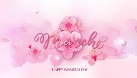 Happy women s day. 8 March with cherry blossoms. Happy women s day. 8 March vector illustration with cherry blossoms on pink background stock illustration