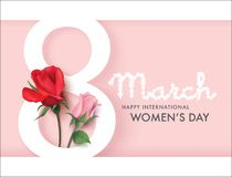 Happy Women`s Day. March 8, Happy Women`s Day design with number 8 and roses Stock Image