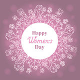 Happy Women`s Day. March 8. Floral wreath. Concept design for a holiday sale, greeting cards, stickers, invitations. Royalty Free Stock Photo