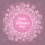 Happy Women`s Day. March 8. Flower frame. Concept design for a holiday sale, greeting cards, stickers, invitations. Royalty Free Stock Photos