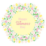 Happy Women`s Day. March 8. Flower and herbage wreath. Design for a holiday sale, greeting cards, flyers, invitations. Happy Women`s Day. March 8. Flower and Stock Image