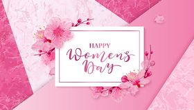 Happy women s day. 8 March with flowers. Happy women s day. 8 March vector illustration with cherry blossoms on pink background Vector Illustration