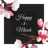 Happy women`s day. 8 March. Frame card with watercolor almond flowers. Black background royalty free illustration