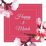 Happy women`s day. 8 March. Frame card with watercolor almond flowers. Pink background Royalty Free Stock Images