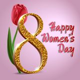 Happy women`s day, March 8 greeting card. Text with tulip on pink background.  royalty free illustration