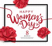 Happy Women`s Day. March 8, Happy Women`s Day design with lettering and roses stock illustration
