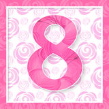 Happy Women s Day 8 March holiday background. Abstract Pink Floral Greeting card International Happy Women s Day 8 March holiday background vector illustration
