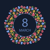 Happy Women`s Day. March 8. Multicolor flower wreath. Design for a holiday sale, greeting cards, invitations. Stock Photo