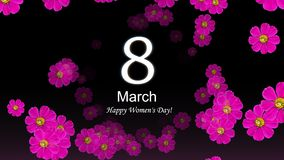 Happy Women`s Day 8 March with pink floral on black background. Happy Women`s Day 8 March text with pink floral on black background. International women`s day royalty free illustration